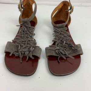 Chie Mihara Gray Suede Fringed Sandals Size 6.5